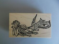 100 PROOF PRESS RUBBER STAMPS DAYDREAMING MERMAID LARGE NEW wood STAMP
