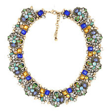 BEAUTIFUL ZARA GREEN CHAMPAGNE BLUE STONES COLLAR STATEMENT NECKLACE – NEW
