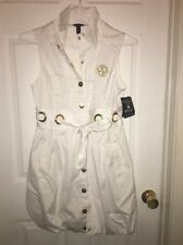 NWT DEREON White SHIRT DRESS Medium SNAP FRONT Tie Belt Beyoncé