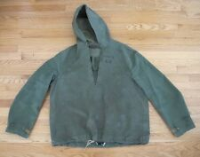 VINTAGE ORIGINAL WW2 USN US NAVY MEN'S JACKET RAINCOAT PONCHO STENCIL SZ MEDIUM