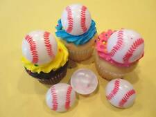 12 Baseball 3D Rings Cupcake Cake Cookie Cake Pop Decorations Party Favors