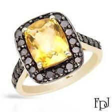 FPJ 10k Yellow Gold Cocktail Ring w/ Genuine Citrine & Diamonds, 4.03 ctw, Size7
