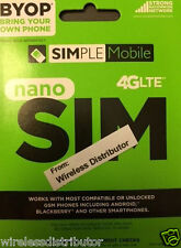 SIMPLE MOBILE NANO SIM CARD UNLIMITED T-MOBILE NETWORK FITS IPHONE 5