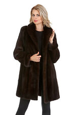 Real Mahogany Mink Fur Jacket Walking Coat for Women - Modified Shawl Collar