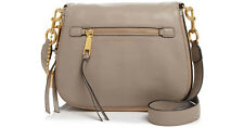 NWT IMarc Jacobs Recruit Saddle Bag CEMENT/GOLD Leather  Zip $375