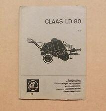 CLAAS Niederdruckpresse  LD 80  Ersatzteilliste Original 1967
