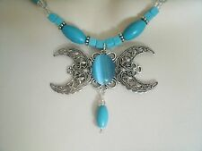 Turquoise Triple Moon Necklace, wiccan pagan wicca goddess witch witchcraft
