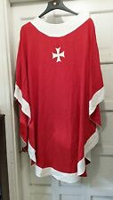 LITURICAL CLERGY CHASUBLE VESTMENT RED W/WHITE & GOLD CROSS SNAP AT SHOULDER