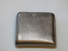 Fossil SL6684043 Sydney Bifold Silver Metallic mini wallet Leather peweter NWT*^