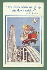 1953 PC COUPLE ON ROLLER COASTER / BIG DIPPER - LOVELY WHEN WE GO UP & DOWN!
