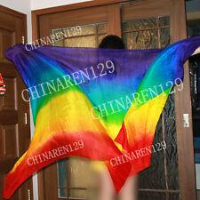 HAND MADE TIE-DYE BELLY DANCE 100% SILK VEILS  rainbow color seven colors 232