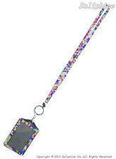Multi-Color Rhinestone Crystal Bling Neck LANYARDs with Vertical ID Badge Holder