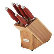 Rachael Ray Cucina Cutlery 6-Piece Japanese Stainless Steel Knife Block Set with