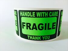 500 2x3 FRAGILE Stickers Handle with Care Stickers GREEN Neon Fluorescent 2x3