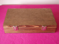 Latched Wooden Storage Box / 9 Compartments - Jewellery, Crafts, Ephemera, Stash