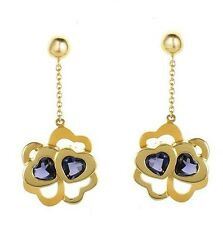 18K Yellow Gold Earrings  With Iolite by CARRERA Y CARRERA Made in Spain
