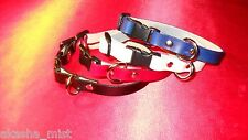 "#CA5B LEATHER CAT COLLAR with BREAKAWAY BUCKLE 6"" TO 10"" ADJUSTABLE!"