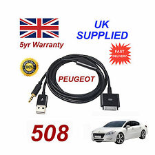 Peugeot 508 Series iPhone 3GS 4 4S iPod USB & 3.5mm Cable Aux negro