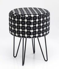 Kare Design 79329 Hocker Iceflower Polsterhocker Sitzhocker Schwarz Weiß