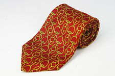Authentic GUCCI Neck Tie Silk100% Red Chain Pattern MINT 617k20