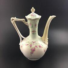 Antique 19c. Art Nouveau RS Prussia Coffee Pot Pink Flowers Melon Shape