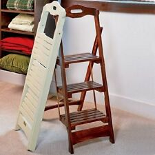 Folding Wooden Step Stool With Handle Easy Kitchen Closet Cream 225-lb Sturdy