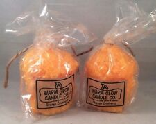 Warm Glow Candle Co. 5 oz. Hand-Dipped ORANGE CRANBERRY Candles, Set of 2