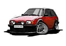 XR2 MK2 Ford Fiesta Red Caricature Car Cartoon A4 Print