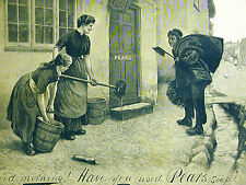 Pears Soap Ad BRUSH SALESMEN and Women Cleaning w Buckets 1891 Print Ad Matted