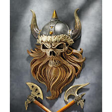 Fantasy Art Valhalla Fearless Viking Warrior Berserker Skull Wall Sculpture