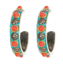 MICHAL GOLAN Coral Sea with Turquoise Enamel Side Hoop Silver Earrings 1""