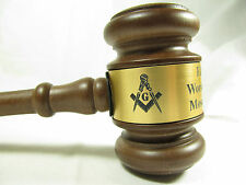 "Personalized Engraved 10.5"" Masonic Wood Gavel"