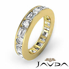 Round Emerald Channel Diamond Eternity Wedding Band 18k Yellow Gold Ring 2.40Ct