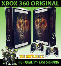 XBOX 360 OLD SHAPE STICKER ABSTRACT SKULL WIRE DARK ROSES SKIN & 2 PAD SKINS