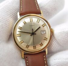 "TIMEX,1972,Manual Wind.""Round Date/just 2-Tone dial"" CLASSIC! MEN'S WATCH,698"