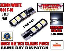 501-W5W x2 Canbus 6 LED FLAT Xenon White VW GOLF MK 5 FOOTWELL BULBS.