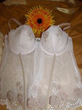 Marks & Spencer pale pink u/w padded embroidered boned lace-up bustier 38B BNWOT