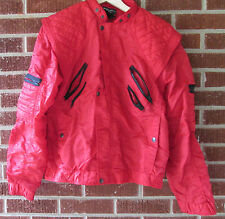 Vintage 80s Parachute Jacket Bugle Boy Large Red Black Nylon Quilted New Wave