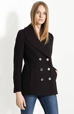 NWT BURBERRY $895 WOMENS BLACK PEACOAT COAT JACKET SZ US 2 EU 36