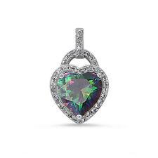 Pave set Rainbow Topaz CZ Heart .925 Sterling Silver Pendant