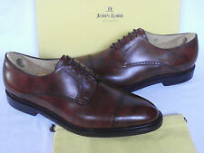 NUOVO John Lobb DERBY MARRONE MUSEO Vitello Leather Cap Toe Lacci Scarpe UK 11.5 E