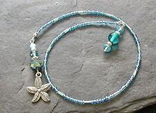 Blue Aqua Glass Beads Starfish Charm Bookmark Handmade