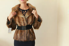 VINTAGE  MUSQUASH mink MUCRAT FUR  JACKET SHORT COAT SIZE 38 UK 12 *5*