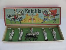 VINTAGE LEAD KNIGHTS FOUR STANDING GUARDS & ONE ON HORSE ORIGINAL BOX ~ JAPAN