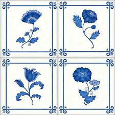 LOVELY DELFT FLOWER NON-TOXIC ACRYLIC UV WALL TILES COVER INSTANT STICKERS