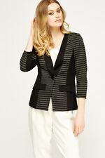 Women Contrast Trim Striped Blazer Size 10 Color Black With Free P&P