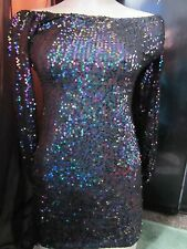 BNWT Motel TopShop Dress XS 6-8 Bardot Sequin Iridescent Dragon Fly Black Party