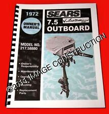Sears Ted Williams 7.5HP Outboard Owners Manual and Parts Book 217.58880 1972