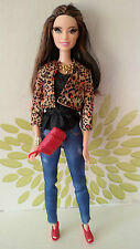 **Barbie Style Raquelle Doll With Rooted Eyelashes Leopard Print Jacket**VHTF**