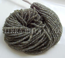 """8"""" AAA olive brown SAPPHIRE faceted gem stone rondelle beads 2mm - 3mm green"""